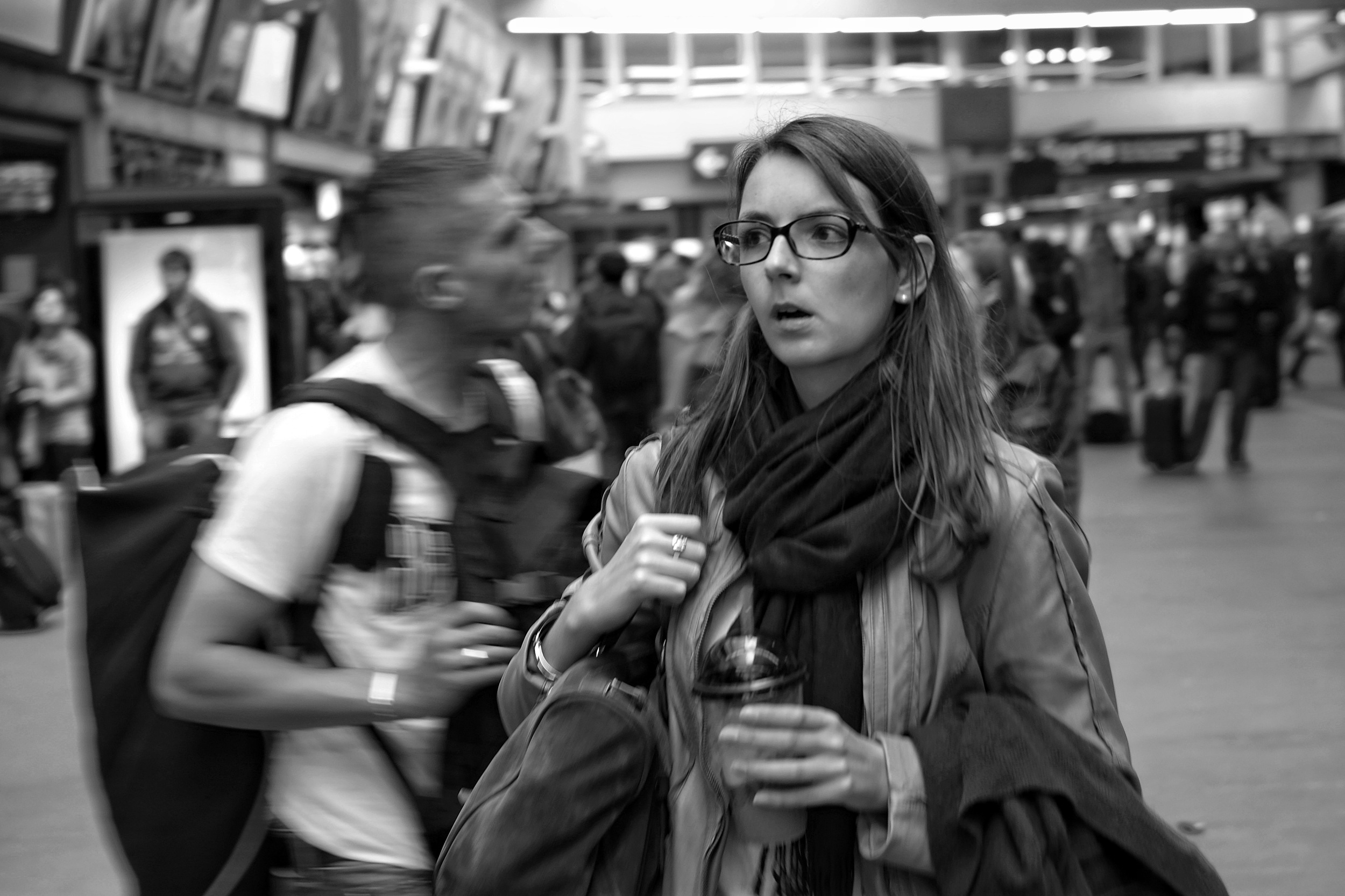Fast moving commuters at Montparnasse station in Paris - Fuji X-Pro1