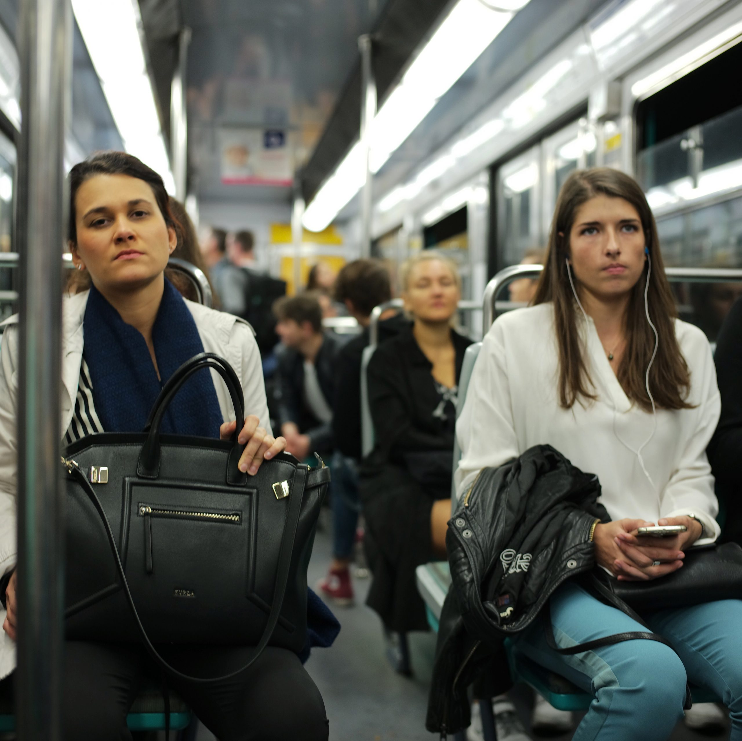 Tired commuters on the Paris metro - Leica M10