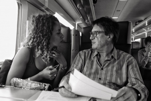 Woman seducing man on the TGV train between Nantes and Paris - DxO One