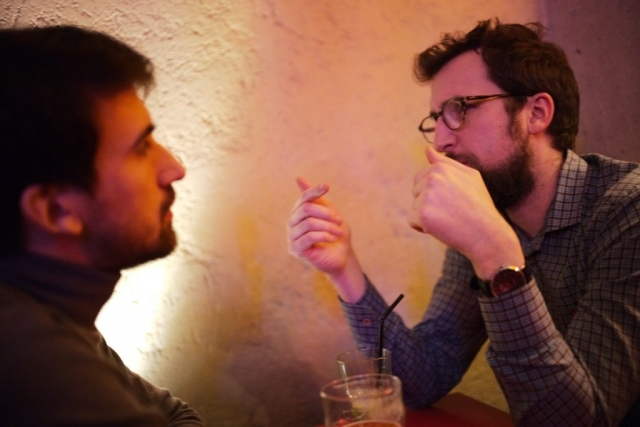 Men talking in Japanese restaurant, Paris - Leica M10