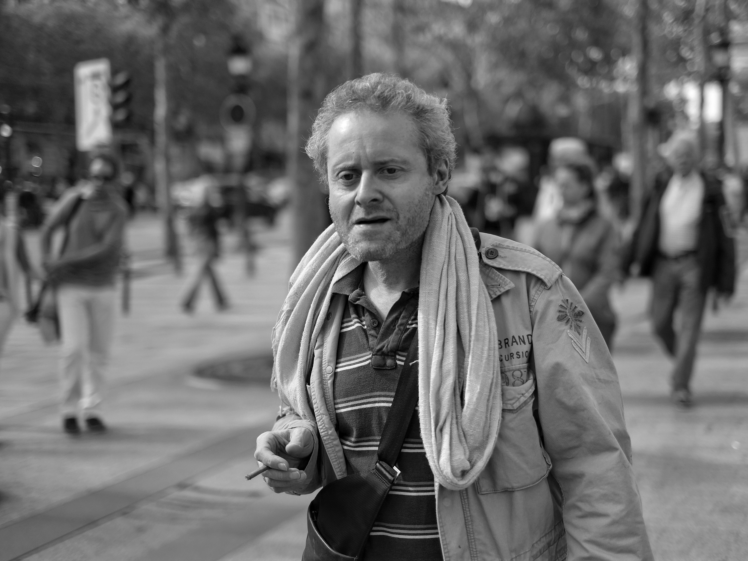 Man walking on the Champs Elysee, Paris - Fuji X-Pro1