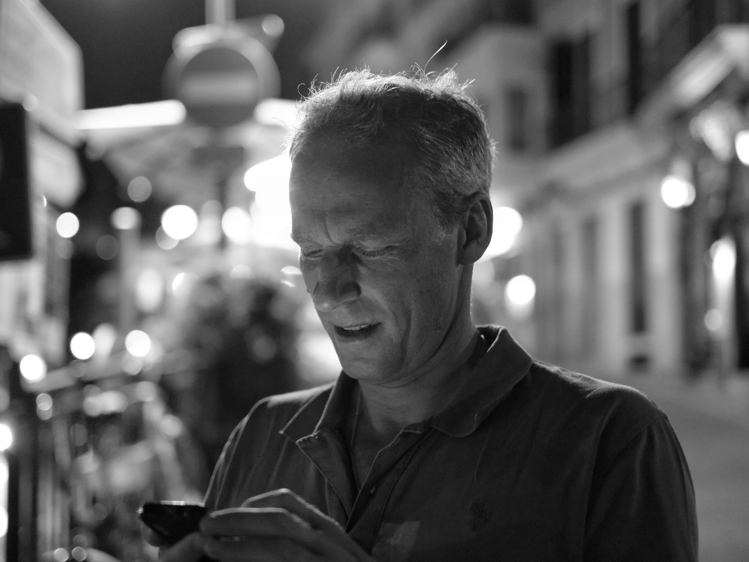 Man on telephone Sollar, Majorca - Fuji X-Pro1