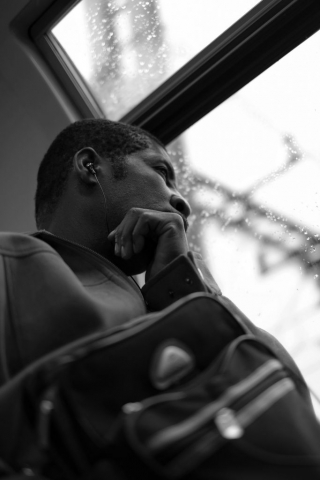 Man reflecting on the Transilien train near Montparnasse in Paris - Fuji X-Pro1